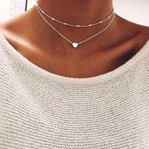 Dainty Heart Necklace - SILVER TONE